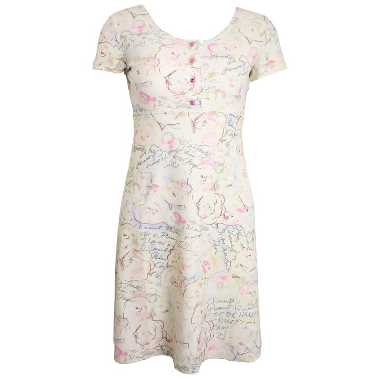 Chanel White Lycra Floral and Coco Chanel Print Short Sleeves Dress