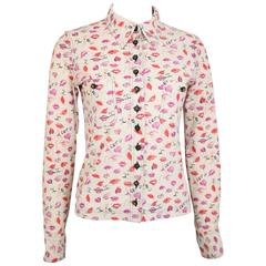 Chanel White Coco Lips Lycra Collar Shirt