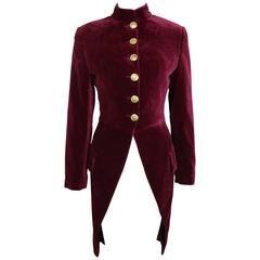Dolce and Gabbana Maroon Velvet Tailcoat