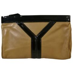 Yves Saint Laurent Beije Varnish Leather Y Black Logo Clutch