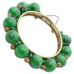 1950s Miriam Haskell Green Plastic Bead and Russian Gold Metal Bracelet