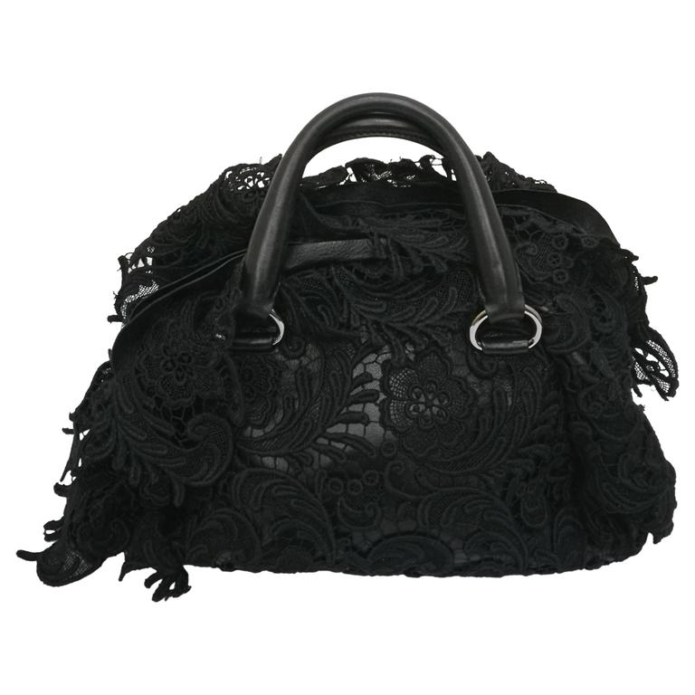 2007s Prada Black Pizzo Lace Covered Leather Bowling Bag