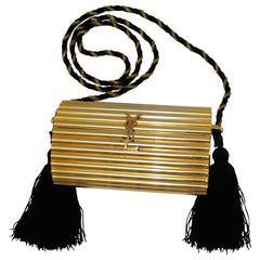 Yves Saint Laurent YSL Vintage Gold Tassel Minaudiere