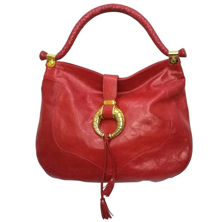 Jimmy Choo Red Leather Gold Hardware Hobo Shoulder Bag For Sale