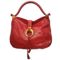 Jimmy Choo Red Leather Gold Hardware Hobo Shoulder Bag