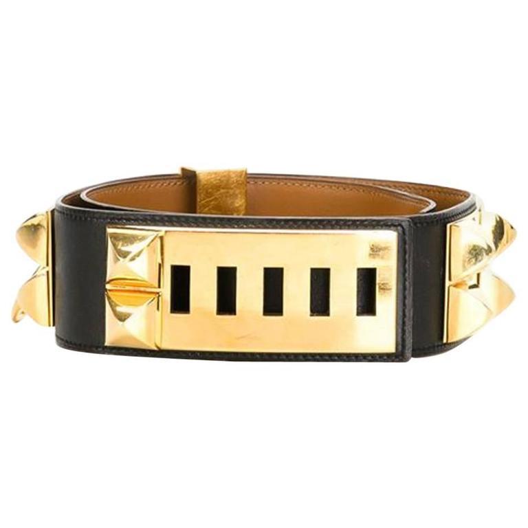 Hermes Black Calfskin Leather Collier de Chien Medor Belt 75cm For Sale