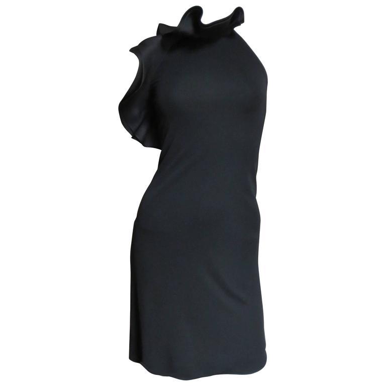 Gucci Organza Ruffle Neck Halter Dress