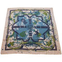Gorgeous Hermes Scarf Shawl Imprimeur Fou Cashmere Silk Fringed 140 cm