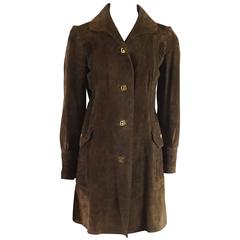 Gucci Brown Suede Monogram Long Jacket - 44 - 1970's