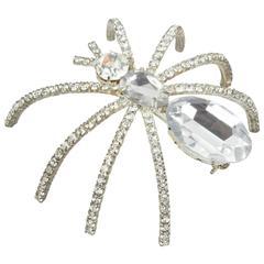Dazzling Vintage Cz Rhinestone Spider Brooch Pin