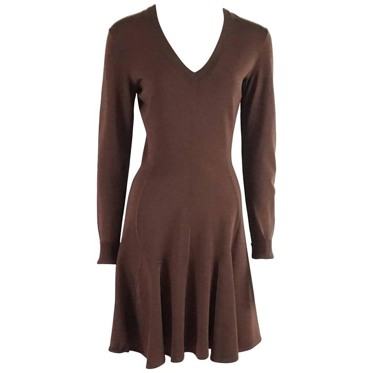 Alaia Brown Knit Long Sleeve Dress - M - 1990's
