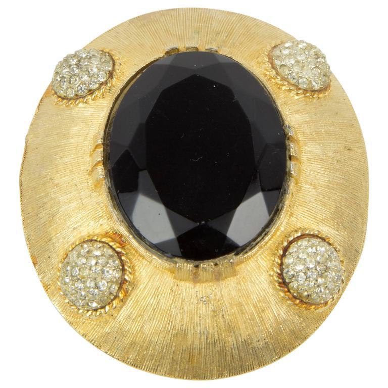 Elegant Vintage Oval Brushed Gold Brooch Pendant