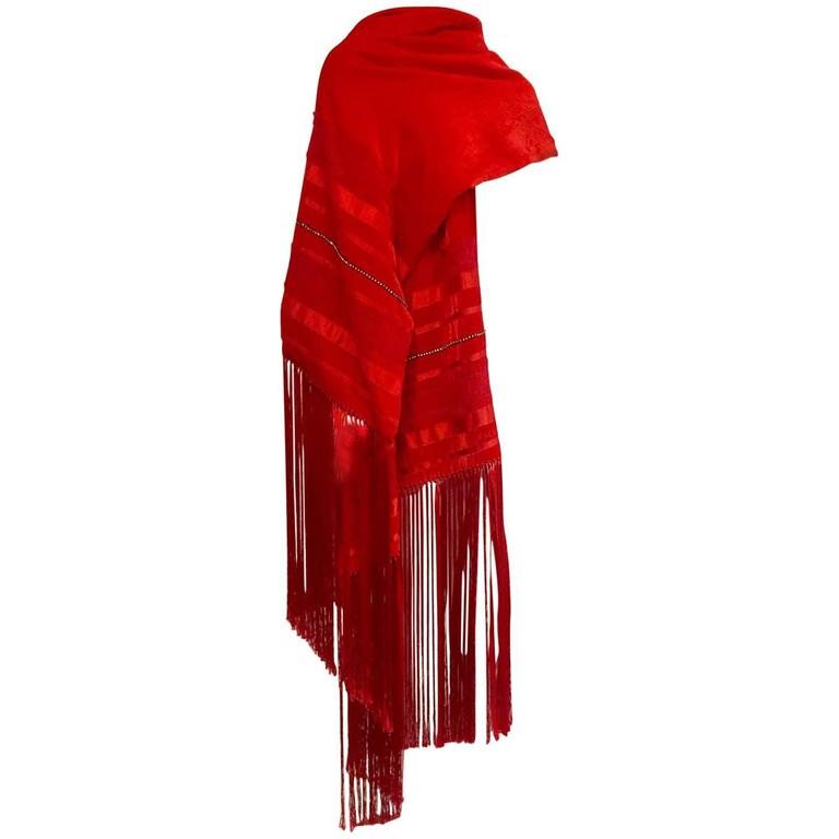 Escada Rapturous Red Velvet Silk and Lace Fringed Wrap With Clear Crystals 1
