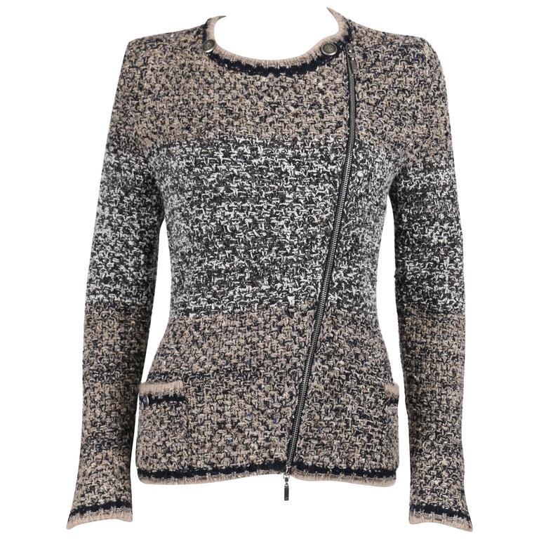 CHANEL A/W 2011 A-Symmetrical Front Side Zip Knitwear Cardigan Jacket 42 For Sale