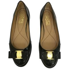 Salvatore Ferragamo vernis Black Leather Ballerinas
