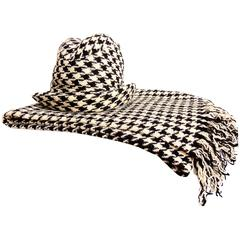 Adolfo Houndstooth Wool Fedora Hat + Fringed Scarf Ensemble 2-Piece Set 1980s
