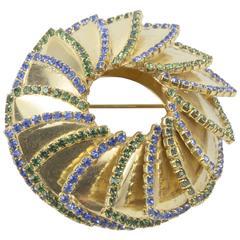 William deLillo Circular Gold Tone Colored Stones Brooch Pin