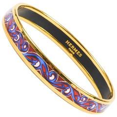 Hermes Gold Plated Red Blue White Printed Enamel Bracelet SZ 65
