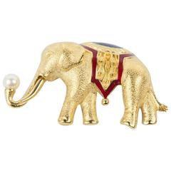 Monet Circus Elephant Enamel Textured Gold Brooch Pin