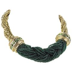 Claire Deve Braided Green Seed Bead Choker Necklace
