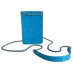 Chanel 14P Runway Turquoise Patent Crossbody Phone Case / Bag