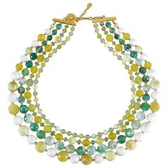 Vintage BARRERA green and yellow 3 strand Necklace