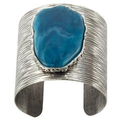 Chunky Wide Silver Tone Cuff Bracelet Centered with Faux Turqoise Stone