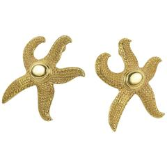 Signed Ben-Amun Etruscan Style Textured Gilt Starfish Couture Runway Earrings