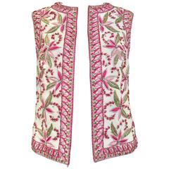 1960s Malcolm Starr  silk vest with pink and green embroidery