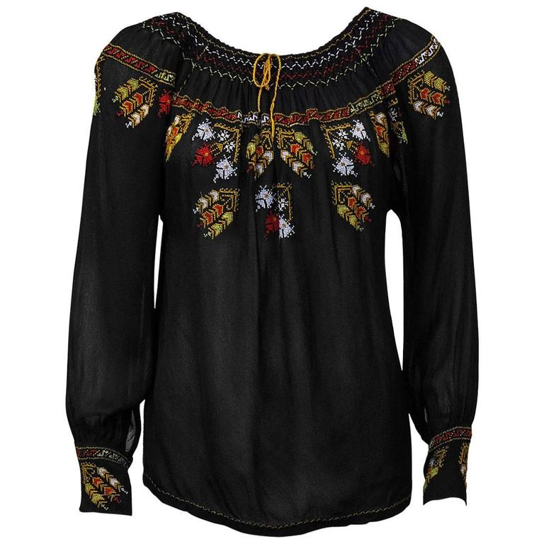 1940's Anonymous Black Hand Embroidered Smock Top