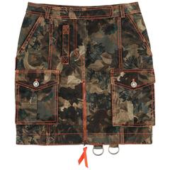 CHRISTIAN DIOR S/S 2001 JOHN GALLIANO Camouflage Denim Cargo Military Skirt 2