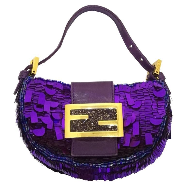 Fendi minaudiere purple sequins