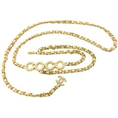 Chanel Gold-Tone Woven Chain and Faux Pearl 'Coco' Belt / Necklace - 2001