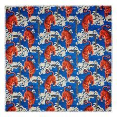 Gucci Bengal Tiger Print Multicolor Modal Silk Shawl