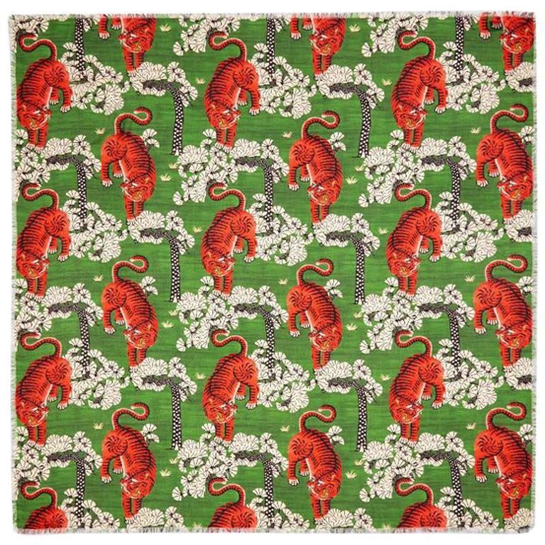 Gucci Bengal Tiger Print Multicolor Modal Silk Shawl At