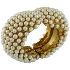 Alexis Lahellec Vintage 1980s Massive Gold Toned Pearl Clamper Cuff Bracelet