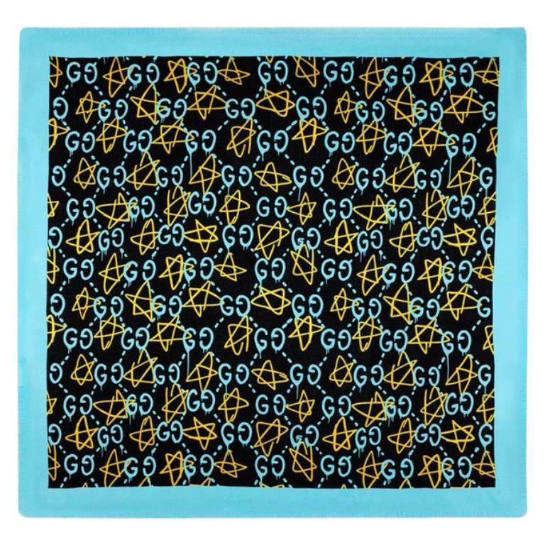 Gucci Ghost Print Blue Modal Silk Shawl At 1stdibs