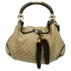GUCCI Monogram Mink Indy Top Handle Bag Metallic