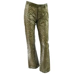 YSL Rive Gauche Olive Perforated Leather Pants - S