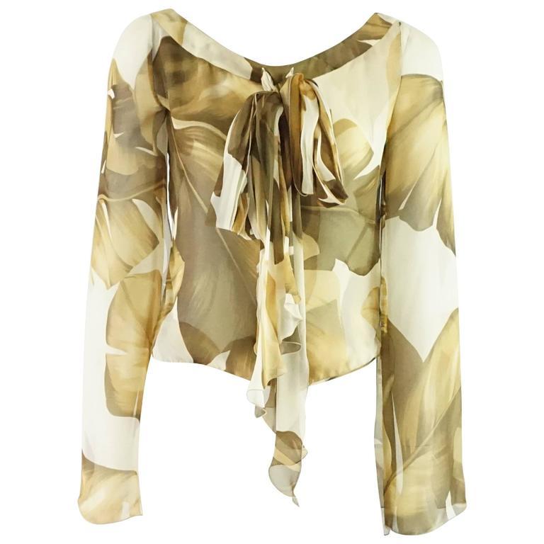 Valentino Earthtones Leaf Print Silk Chiffon Top - 8 - NWT