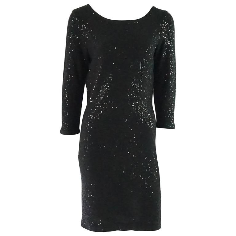 Oscar de la Renta Black Silk Blend Sequin Dress - M 1