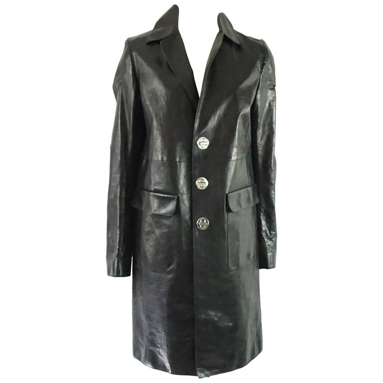 DSquared2 Black Leather Full Coat - 46 1