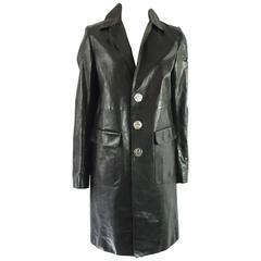 DSquared2 Black Leather Full Coat - 46