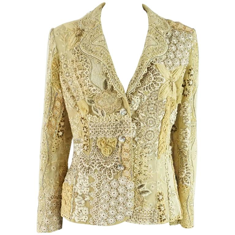 Ella Singh Cream Lace and Embroidered Jacket with Rhinestones - 36 - 1990's  For Sale