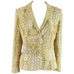 Ella Singh Cream Lace and Embroidered Jacket with Rhinestones - 36 - 1990's