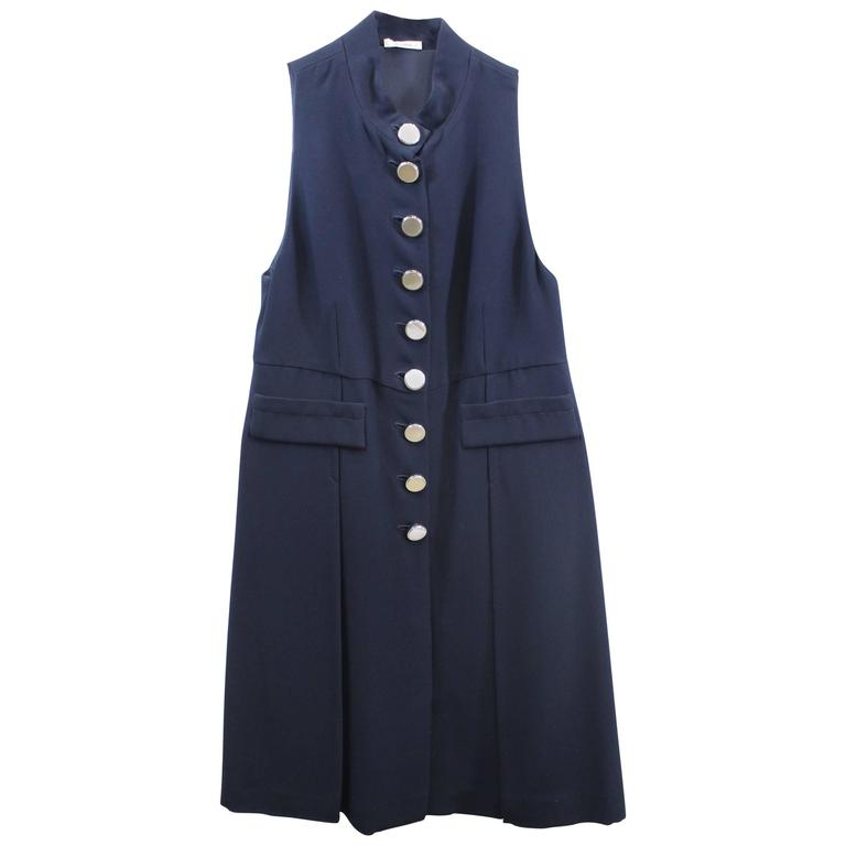 Miu Miu Navy Day Dress in excellent condition. Retail Price 1300$. S 36
