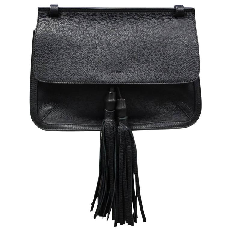 f0143fdf4 Gucci Bamboo Daily Black Leather Tassel Cross Body Bag at 1stdibs