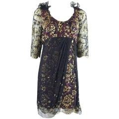 Zandra Rhodes Wine/Navy/Gold Metallic Lace & Chiffon Dress-10-Circa 80's