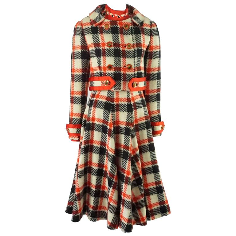 Ronald Amey Black, Ivory, and Red Plaid Wool Dress Set - 8 - 1970's  For Sale