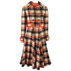 Ronald Amey Black, Ivory, and Red Plaid Wool Dress Set - 8 - 1970's